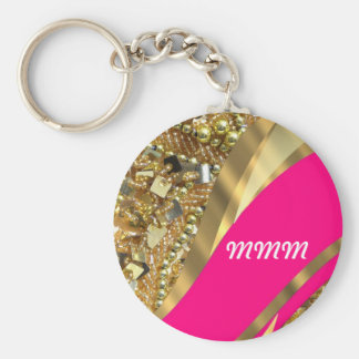 Hot pink & gold bling key chains