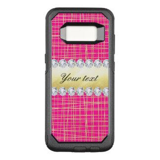 Hot Pink Gold Criss Cross Lines Diamonds OtterBox Commuter Samsung Galaxy S8 Case