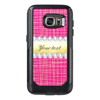 Hot Pink Gold Criss Cross Lines Diamonds OtterBox Samsung Galaxy S7 Case