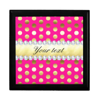 Hot Pink Gold Foil Polka Dots Diamonds Gift Box