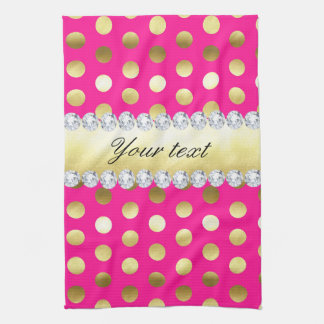 Hot Pink Gold Foil Polka Dots Diamonds Hand Towel