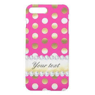 Hot Pink Gold Foil Polka Dots Diamonds iPhone 8 Plus/7 Plus Case