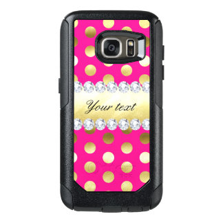 Hot Pink Gold Foil Polka Dots Diamonds OtterBox Samsung Galaxy S7 Case
