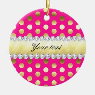 Hot Pink Gold Foil Polka Dots Diamonds Round Ceramic Ornament
