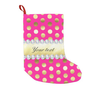 Hot Pink Gold Foil Polka Dots Diamonds Small Christmas Stocking