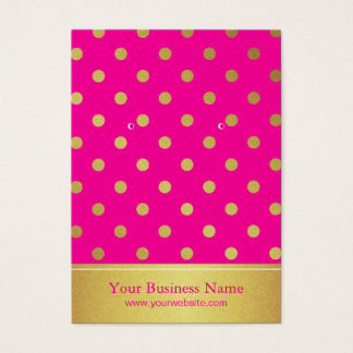 Hot Pink Gold Glitter Dots Earring Display Cards