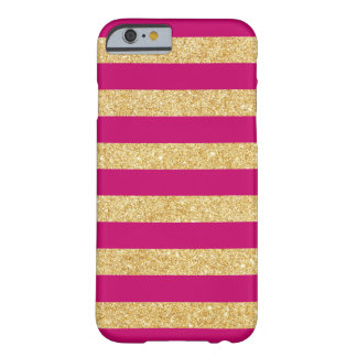 Hot Pink Gold Glitter Stripes iPhone 6 case