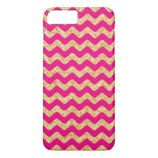 Hot Pink Gold Glitter Zigzag Chevron Pattern iPhone 8 Plus/7 Plus Case