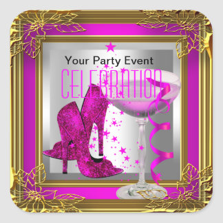 Hot Pink Gold High Heel Shoes Champagne Square Sticker