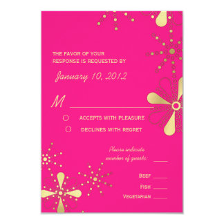 Hot Pink & Gold Indian Inspired RSVP Meal Options 3.5x5 Paper Invitation Card