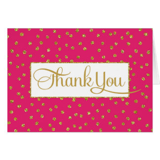 Hot Pink Gold Thank You Card