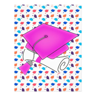 Hot Pink Graduation Cap and Diploma, Colorful Cap Letterhead