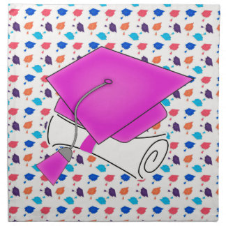 Hot Pink Graduation Cap and Diploma, Colorful Cap Napkin