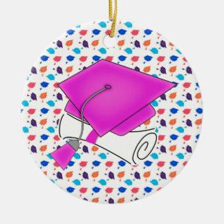 Hot Pink Graduation Cap and Diploma, Colorful Cap Round Ceramic Ornament
