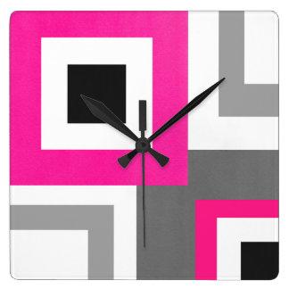 Hot Pink Gray Black White Geometric Squares Square Wall Clock