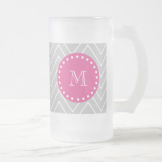 Hot Pink, Gray Chevron | Your Monogram 16 Oz Frosted Glass Beer Mug