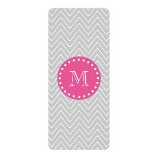 Hot Pink, Gray Chevron | Your Monogram Card