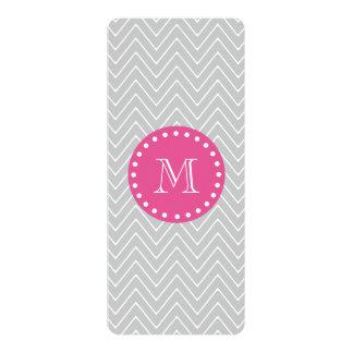 Hot Pink, Gray Chevron   Your Monogram 4x9.25 Paper Invitation Card