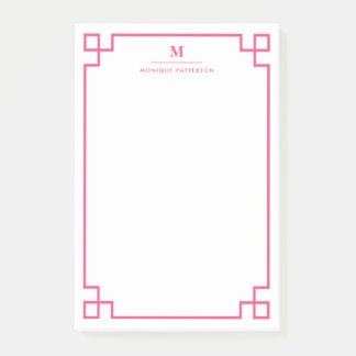 Hot Pink Greek Key Border Monogram Personalized Post-it® Notes