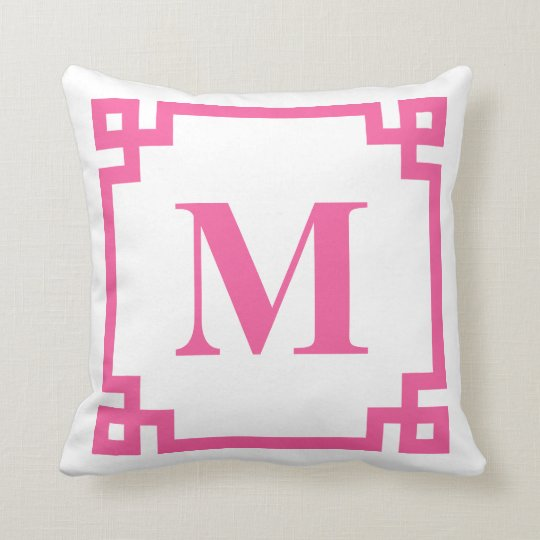 Hot Pink Greek Key Border Monogram Throw Pillow