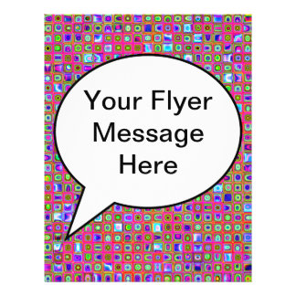 Hot Pink Green And Purple Funky Tiles Pattern Full Color Flyer