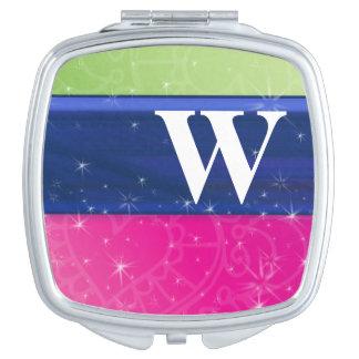 Hot Pink Green Blue 80s Colors Glitter Monogram Travel Mirror