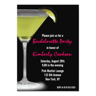 Hot Pink Green Martini Bachelorette Party Card