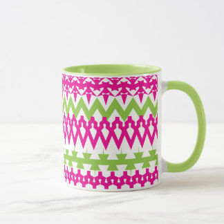 Hot Pink Green Tribal Chevron Pattern Mug