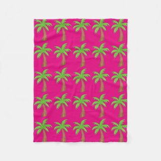 Hot Pink Green Tropical Palm Tree Trees Blanket