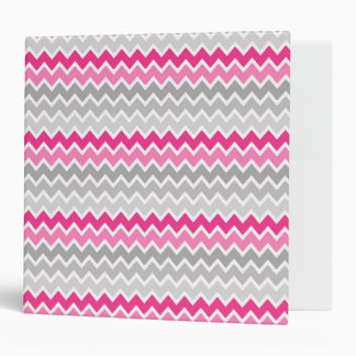 Hot Pink Grey Gray Ombre Chevron Zigzag Pattern 3 Ring Binder