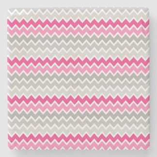 Hot Pink Grey Gray Ombre Chevron Zigzag Pattern Stone Coaster