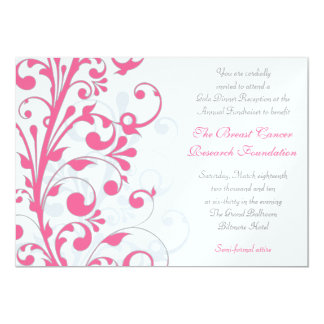 Hot Pink, Grey, & White Fundraiser Invitation