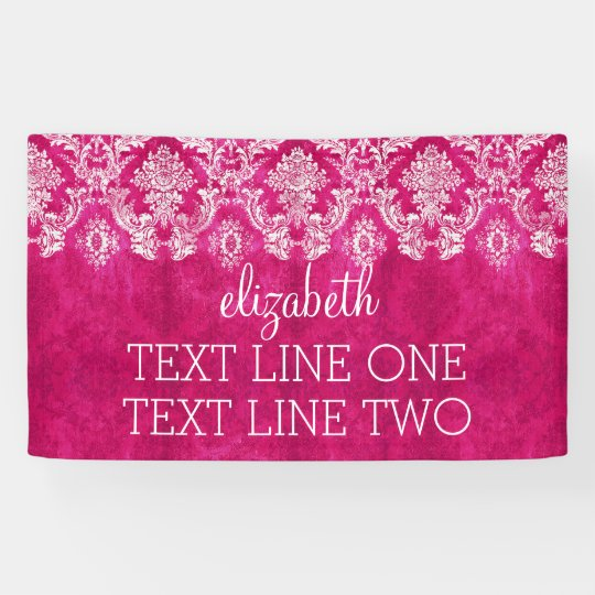 Hot Pink Grunge Damask Pattern Custom Text Banner