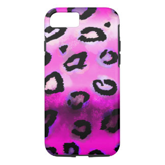 Hot Pink Grunge Leopard iPhone 8/7 Case