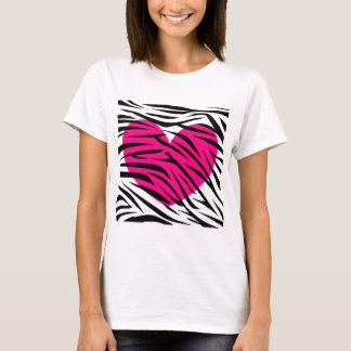 Hot Pink Heart and Zebra Stripes in Black and Whit T-Shirt