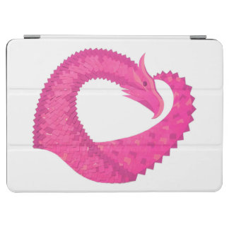 Hot pink heart dragon on white iPad air cover