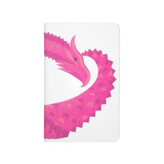 Hot pink heart dragon on white journal