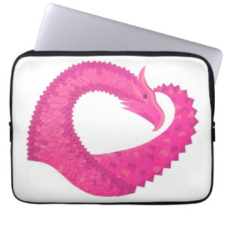 Hot pink heart dragon on white laptop sleeve