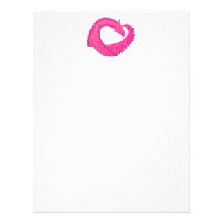 Hot pink heart dragon on white letterhead