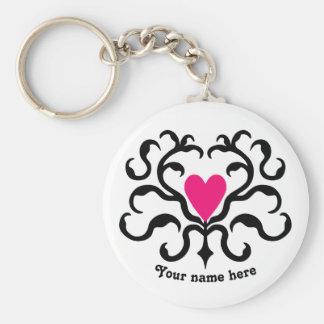 Hot pink heart keychain