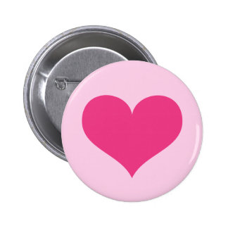 Hot pink heart love or Valentines day 2 Inch Round Button