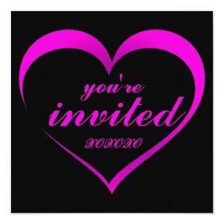Hot Pink Heart on Black Valentine Party Invitation