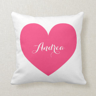 Hot Pink Heart & Polka Dots Pattern Personalized Throw Pillow