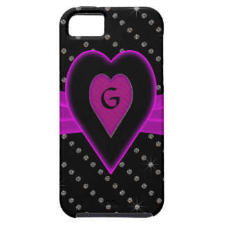 Hot Pink Heart & Ribbon, Diamonds Case For The iPhone 5