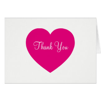 Hot Pink Heart Thank You Card