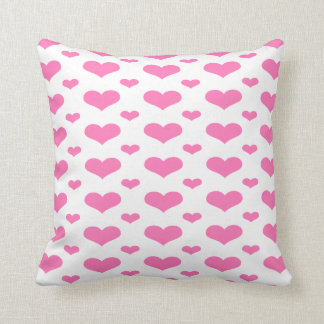 Hot Pink Hearts in a Row Pattern Throw Pillow