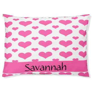 Hot Pink Hearts in Row Monogram Dog Bed-Large Large Dog Bed