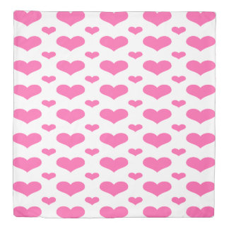 Hot Pink Hearts in Row Queen Size Duvet Cover