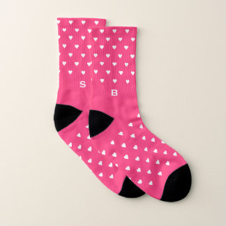 Hot Pink Hearts Pattern Monogram Socks