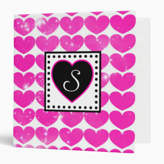 Hot Pink Hearts Pattern With Monogram Binder